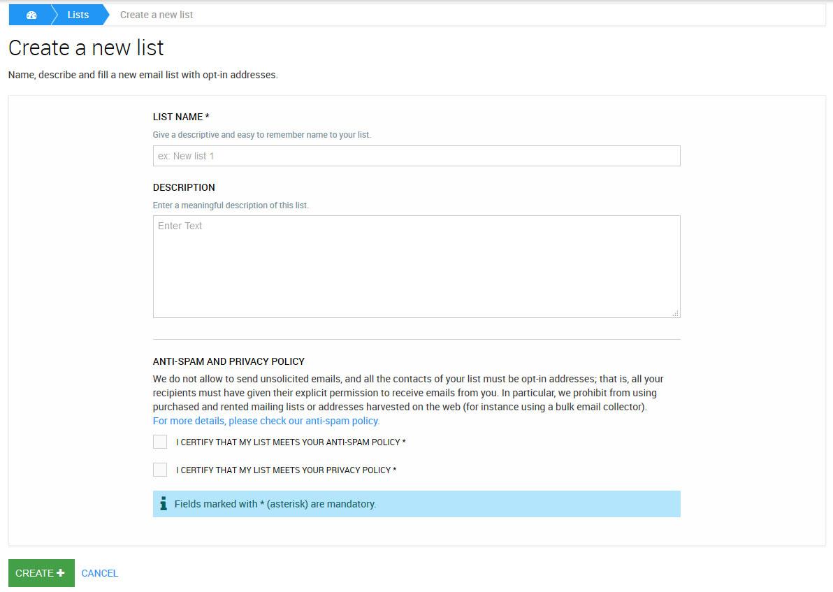 Erstelle eine neue Liste