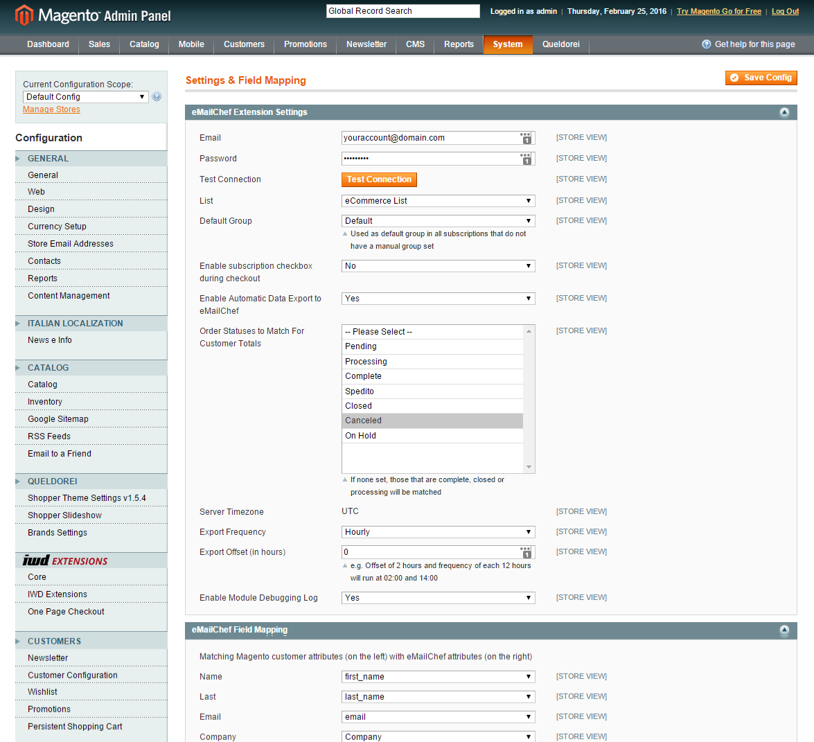 Email marketing with Magento and eMailChef - eMailChef