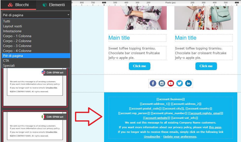 Inserisci CAN-spam e link di disiscrizione in un colpo solo