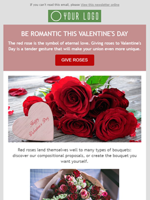 Valentine's day roses flower shop - Newsletter Template