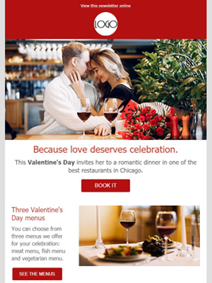 Valentine's day romantic dinner for couples - Newsletter Template