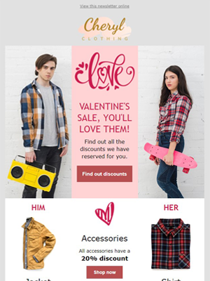 Valentine's day fashion clothes for her and him - Newsletter Template