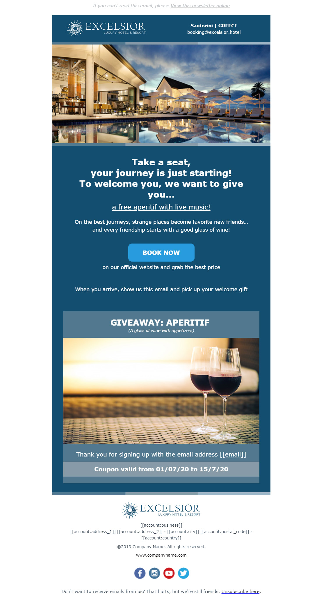 Hotel newsletter example - Welcome gift