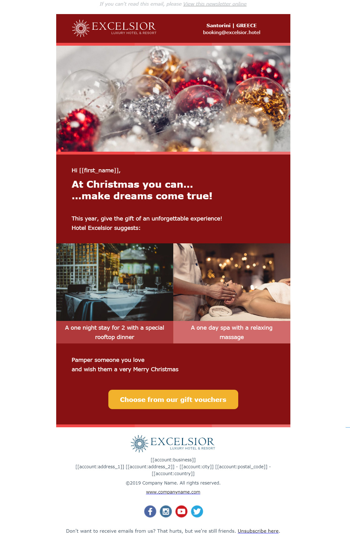 Hotel newsletter example - Christmas gifts