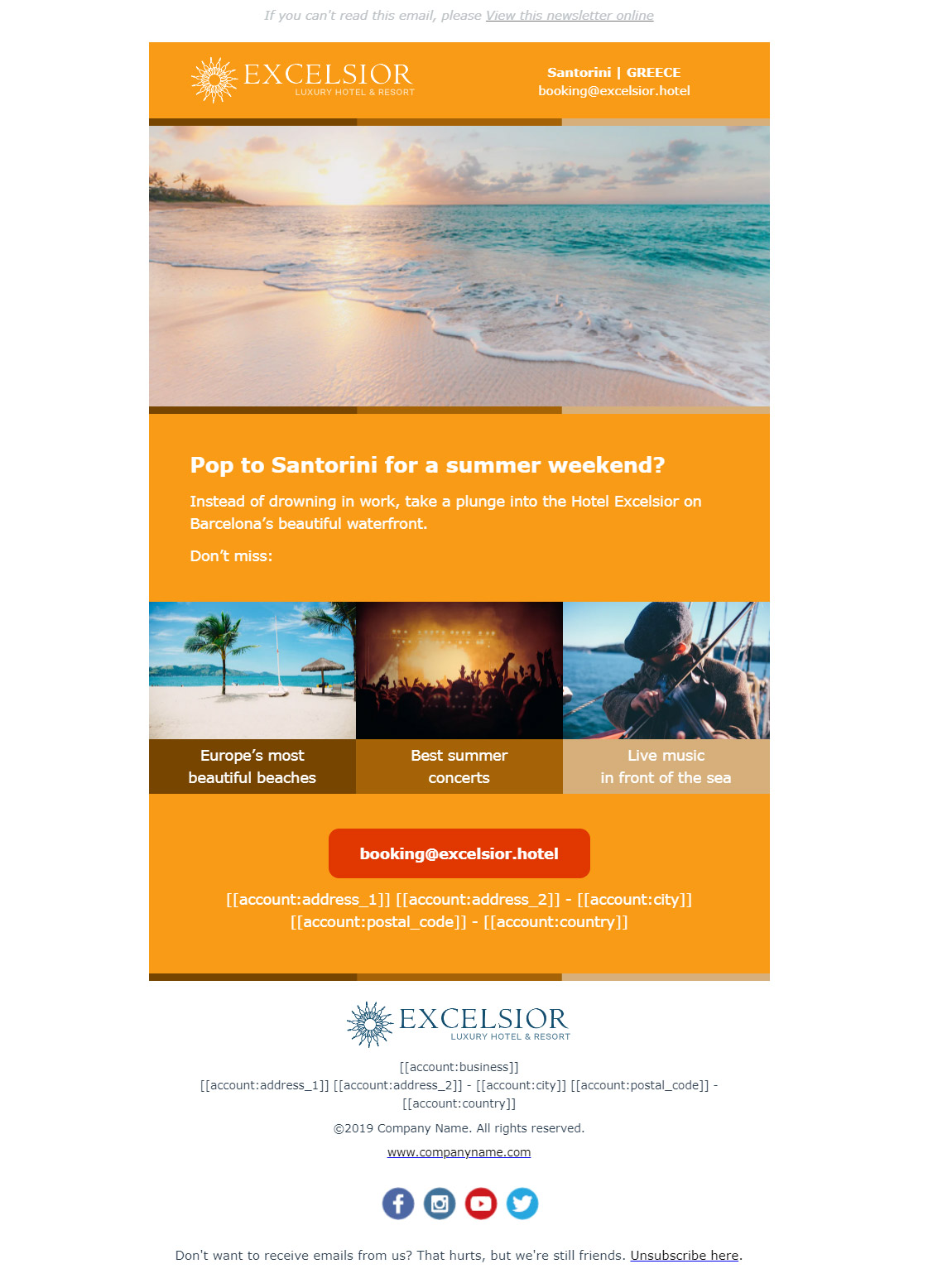 Hotel newsletter example - Show highlights