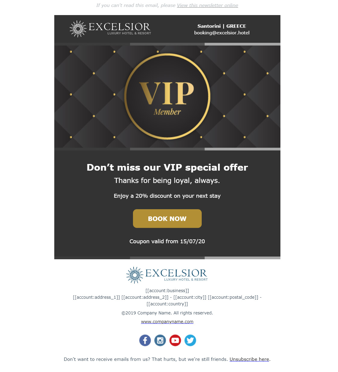 Hotel newsletter example - Reward your customers' loyalty