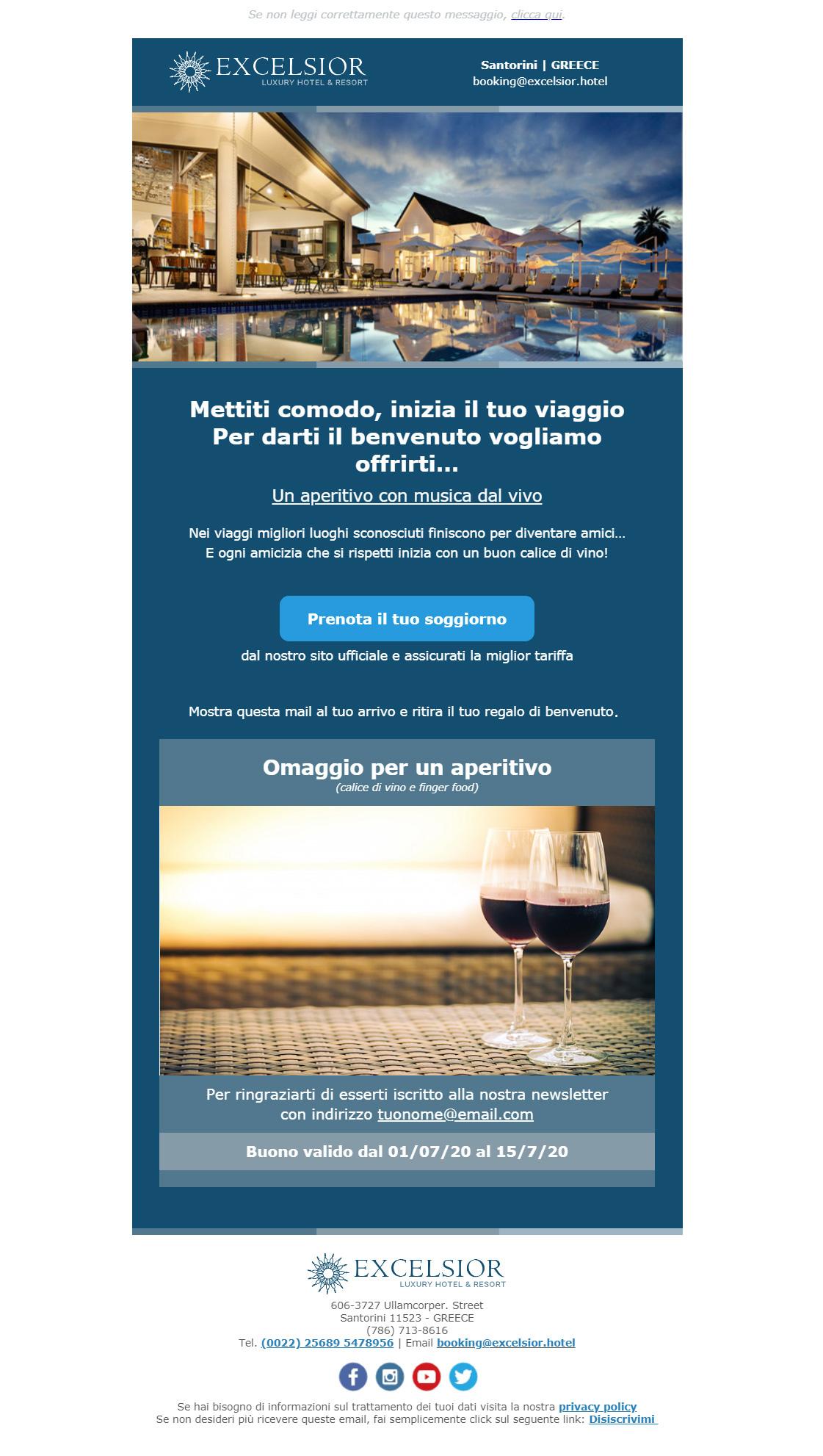 Esempio newsletter hotel: regalo di benvenuto