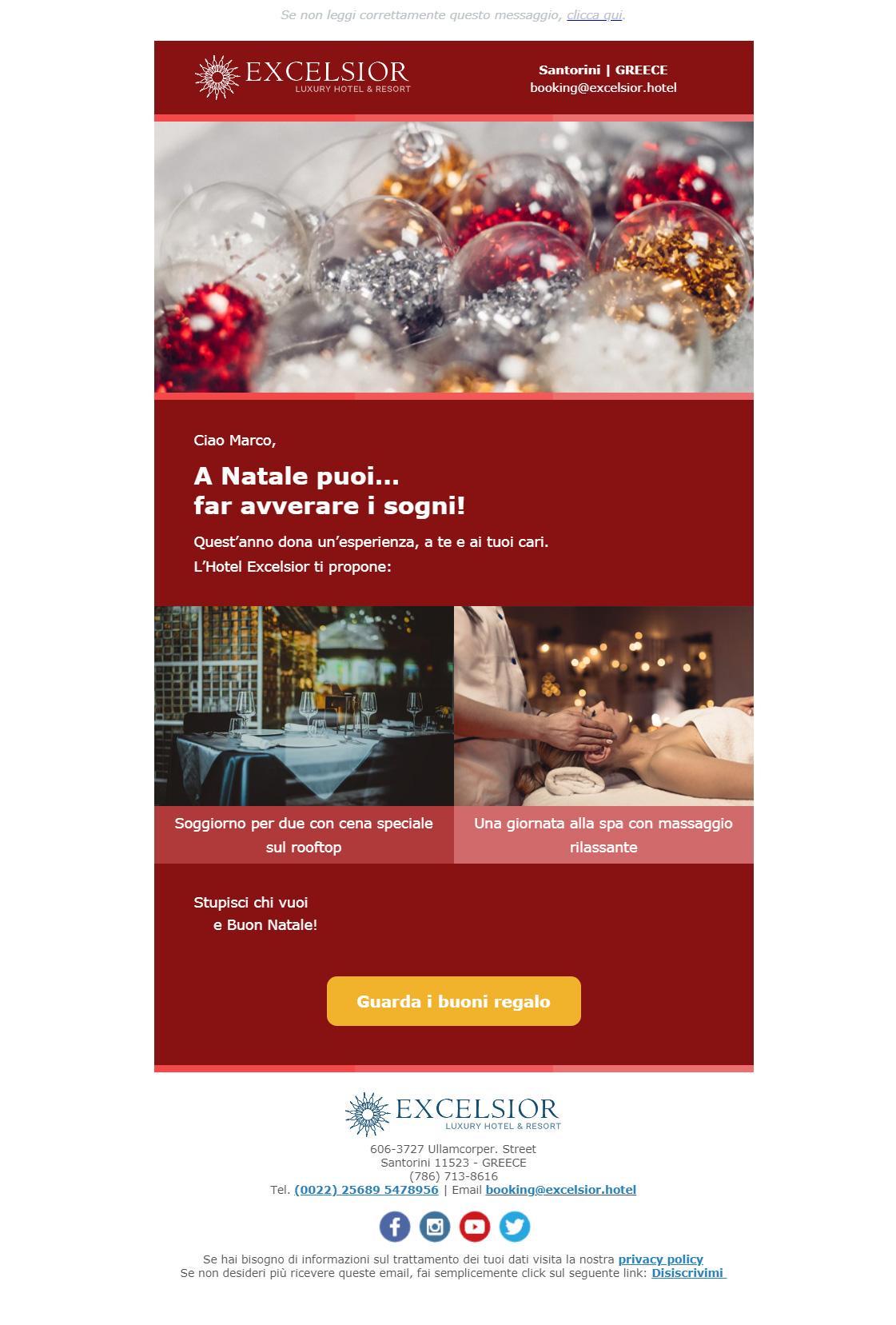 Esempio newsletter hotel: speciale regali di natale