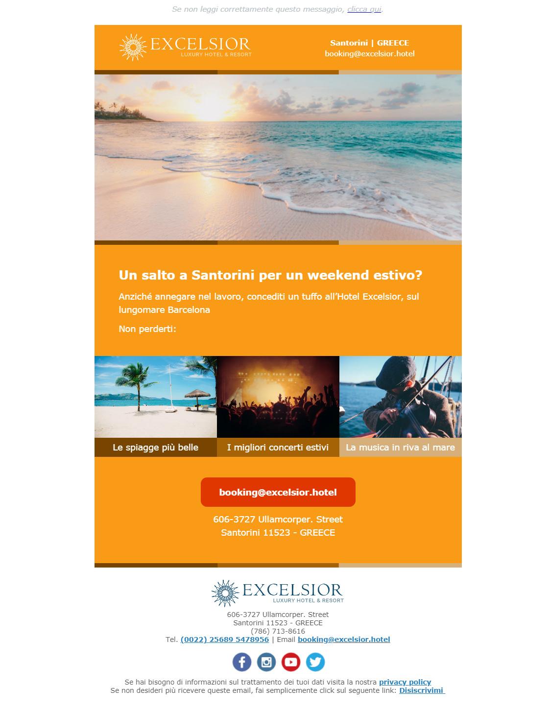 Esempio newsletter hotel: Mostra/Punta sulle attrazioni del luogo con i contenuti visual
