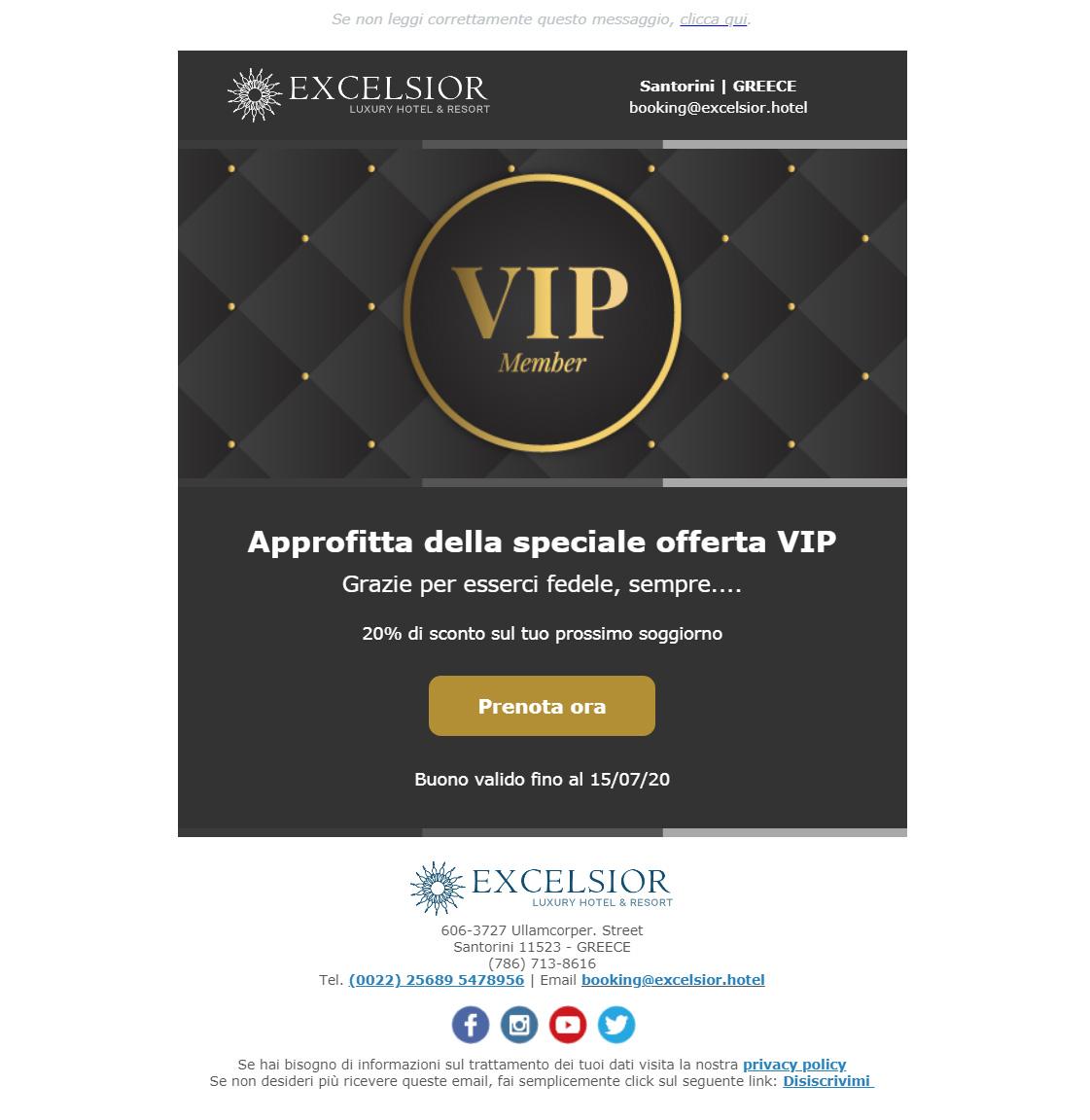 Esempio newsletter hotel: premia la fedeltà dei tuoi clienti