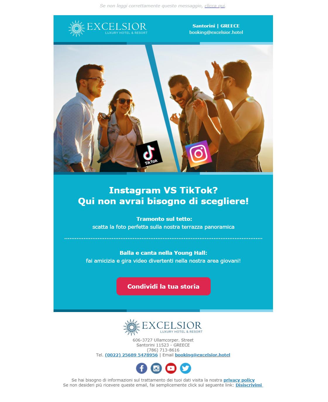 Esempio newsletter hotel: Invita i tuoi clienti ad usare i social network