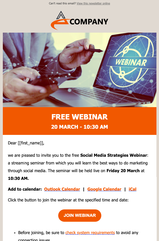 Free webinar Newsletter Template