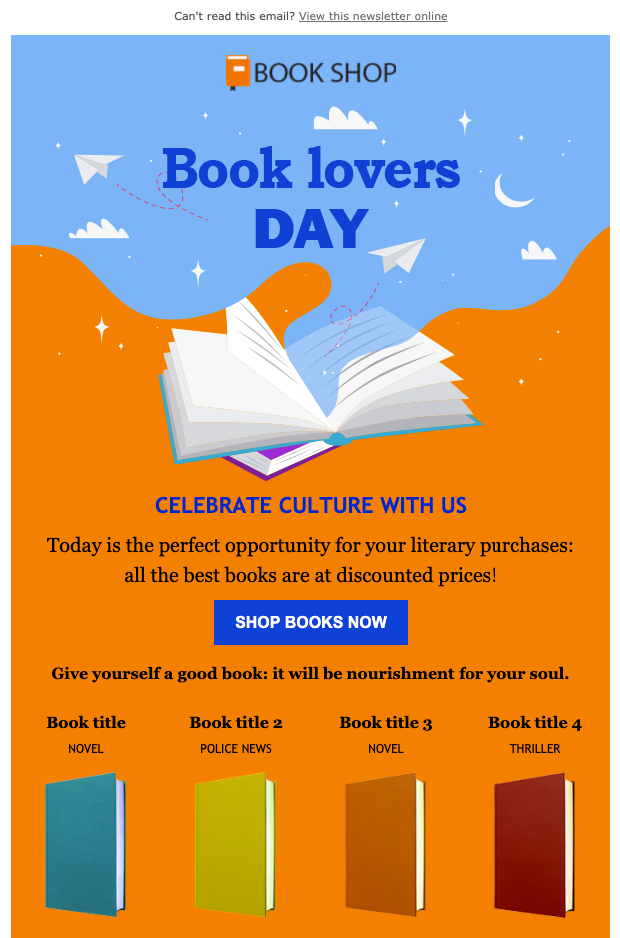 Book lovers day Newsletter Template