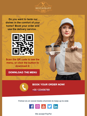QR code menu restaurants Newsletter Template