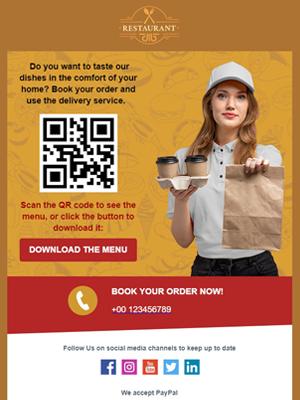 Ristoranti menu con QR code - Newsletter Template