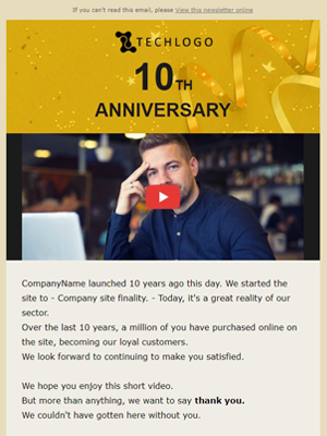 Newsletter Anniversary Email