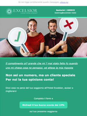 Newsletter di ringraziamento per un feedback o review